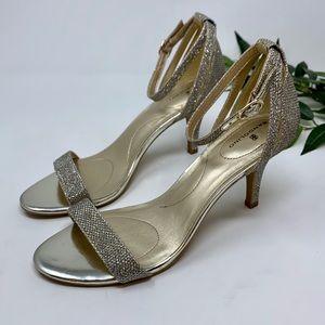 Bandolino Muriel Silver Sparkle Ankle Strap Heel 8